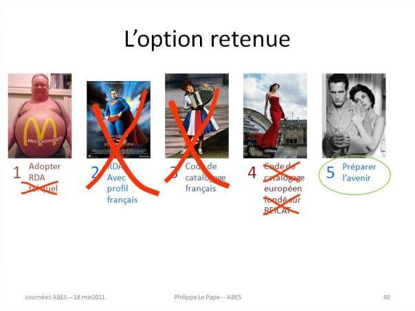 """Diapositive 40 : l'option retenue (extrait de la présentation """"La longue route vers RDA"""" aux Journées ABES 2011)"""