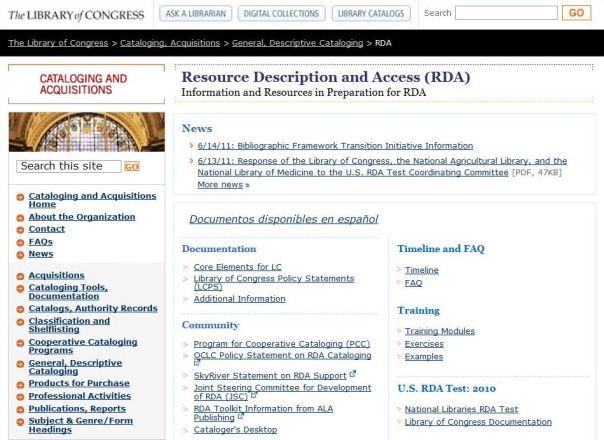 Le site RDA à la Bibliothèque du Congrès