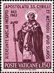 Saint Méthode (timbre-poste). Poste Vaticane. 1963