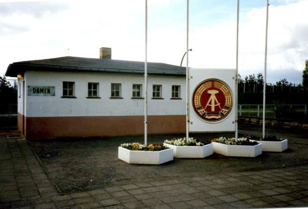 Sozialistische Toiletten, Socialist toilets. Grenz Bahnhof - Border Crossing, Bahnhof Oebisfelde DDR, Apr 1990