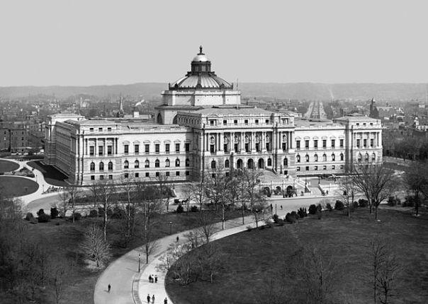 Bibliothèque du Congrès, Washington DC (États-Unis), vers 1902. Source : Wikimedia Commons