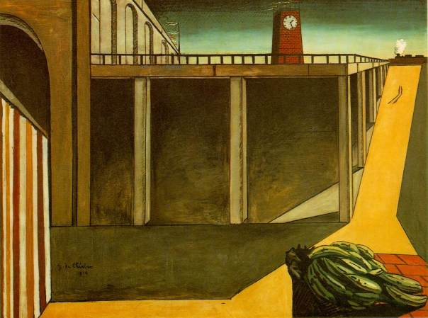 Giorgio de Chirico (1888-1978). La stazione di Montparnasse (1914 ; Paris), 140 x 184,5 cm. Museum of Modern Art, New York, États-Unis.